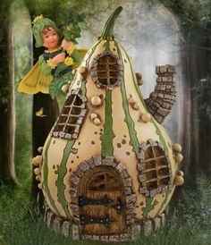 Striped gourd house in the fairy garden.