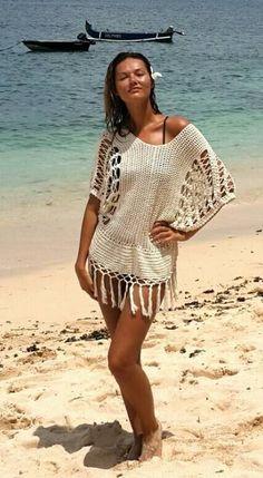 crochet beach cover-up par Ellenn & James sur Etsy - Robes de Plage Bikini Crochet, Crochet Beach Dress, Crochet Cardigan, Crochet Lace, Beachwear Fashion, Bikini Fashion, Beach Coverup Pattern, Crochet Cover Up, Summer Knitting