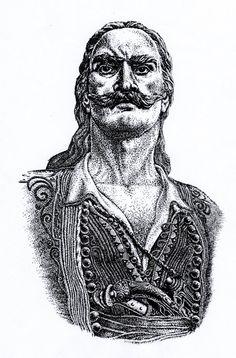 Λιακατάς Γρηγόρης  - Έπεσε στο Ντολμά του Αιτωλικού, με 300 Αιτωλικιώτες και συγγενείς του, 28 Φεβρ. 1826. Ήταν 27 ετών! (σκίτσο με πενάκι, του Απ. Σ. Μπλίκα