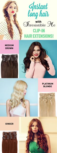 Add instant length and volume to your hair with these human Remy clip-in hair extensions by Irresistible Me. Can be colored, cut and heat styled. Great selection of colors - many more available. Best Human Hair Extensions, Tape In Hair Extensions, Irresistible Me Hair Extensions, Natural Hair Styles, Short Hair Styles, Trendy Hairstyles, Wedding Hairstyles, Gorgeous Hair, Hair Beauty
