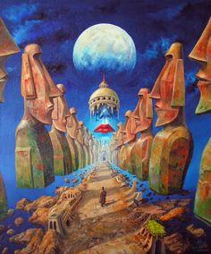 Art Surrealism - Jaroslaw Jasnikowsi - [no name found] Art Bizarre, Weird Art, Surrealism Painting, Pop Surrealism, Painting Art, Paintings, Fantasy Kunst, Fantasy Art, Art Visionnaire