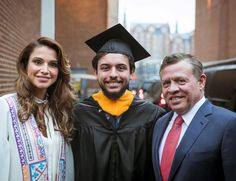 Queen Rania looked proud as she posed with her husband and son