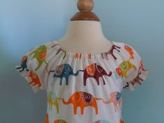 Ellie Dress  Girls Elephant Peasant Dress Sizes by RennyClothing, $42.00
