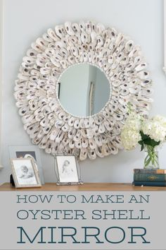 This DIY Oyster Shell Mirror is so easy to make and adds instant charm to your home decor. Not only perfect for coastal decor, but suitable for other decor styles as well. Diy Furniture Projects, Easy Diy Projects, Craft Projects, Decor Crafts, Diy Home Decor, Bali, Small Bathroom Organization, Pinterest Crafts, Do It Yourself Home