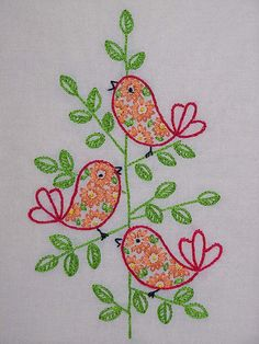retro red birds by Melys Hand-Embroidery, via Flickr