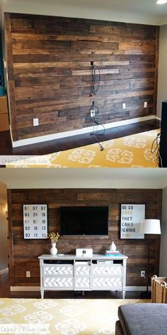 Cheap DIY Wood Accent Walls Decor Projects TV Pallet Wall:I have a big collection of beautiful and cheap DIY wood accent wall décor ideas for your inspiration. The post Cheap DIY Wood Accent Walls Decor Projects appeared first on Pallet ideas. Diy Pallet Wall, Pallet Walls, Pallet Furniture, Pallet Accent Wall, Man Cave Furniture, Pallet Wall Bedroom, Wooden Accent Wall, Garden Furniture, Pallet Chair