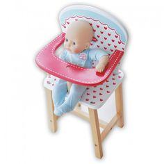 A toy high chair perfect for sitting a favourite dolly in. It includes a fixed, sturdy feeding tray that is handy for holding dollies bottles and feeding equipment. Please note that the doll shown in the picture is not included.