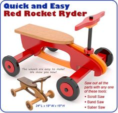 Quick and Easy Red Rocket Ryder Wood Toy Plan Set