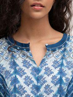 Blue Block-printed Silk Kurta - All About Printed Kurti Designs, Silk Kurti Designs, Salwar Neck Designs, Kurta Neck Design, Kurta Designs Women, Kurti Designs Party Wear, Churidhar Neck Designs, Neck Designs For Suits, Neckline Designs