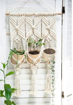 A cute and sweet home for your love plants #macrameplanthanger #macramelove #macramemaker #macramesupply #hangingplanter #planthanger #handmade #vintage #etsyfinds #etsy #macramewallhanging #bohodecor #vintagemacrame  #houseplants #plantlover #minimalist #triplemacrame #tripleplanthanger #macrametapestry #walldecor #wovenwallart Crochet Plant Hanger, Macrame Plant Holder, Macrame Plant Hangers, Wall Plant Holder, Plant Wall, Plant Holders, Plant Basket, Hanging Plants, Plants Indoor