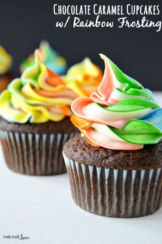 For a seriously delicious cupcake fix try this easy and fun cupcake recipe with rainbow frosting. And you'll never believe how super simple the frosting is either!