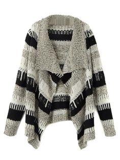 Gray Stripe Lapel Long Sleeve Cardigan