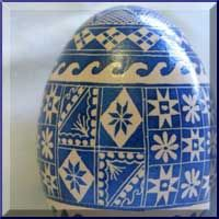 blue and white pysanky egg