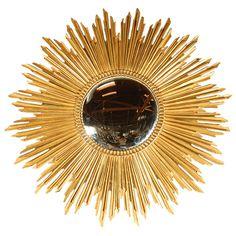 Large Gold Leaf Sunburst Mirror   1stdibs.com