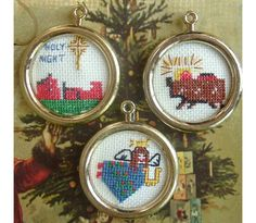 Cross Stitch Christmas Tree Ornaments Framed by AtticBasement, $4.50