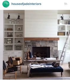 stone and shiplap fireplace   The wood beam and stone blends ...