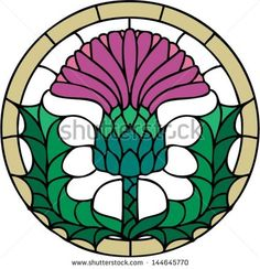 Vector Images, Illustrations and Cliparts: The thistle, the floral emblem of Scotland, vector illustration in stained glass window style, symmetric composition Stained Glass Patterns, Stained Glass Art, Stained Glass Windows, Mosaic Glass, Flag Of Scotland, Flower Symbol, Thistle Flower, Scottish Thistle, Crystal Shapes