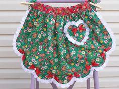 Christmas half apron - I like the lace