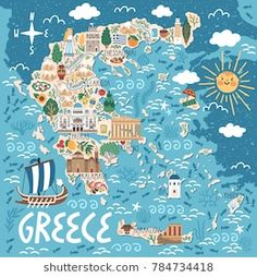 Travel infographic Vector stylized map of Greece. Travel illustration with greek landmarks building plants and traditional food. Travel Map Pins, Travel Maps, New Travel, Travel Posters, Food Travel, Greece Map, Greece Travel, Poster City, Heraklion