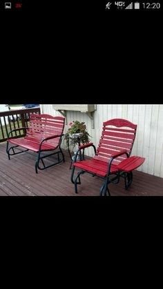 Porch chairs in colonial red