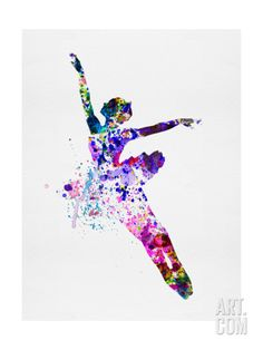Flying Ballerina Watercolor 1 Print by Felix Podgurski at Art.com