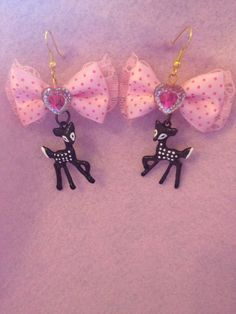 Fawn Deer Pink Bow Earrings by zefora on Etsy