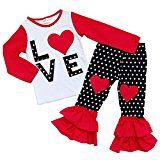 So Sydney Toddler Girls 2 Pc Valentine's Day Love Heart Print Ruffle Outfit (S (3T), LOVE Red & Black Polka) - http://tonysgifts.net/so-sydney-toddler-girls-2-pc-valentines-day-love-heart-print-ruffle-outfit-s-3t-love-red-black-polka/