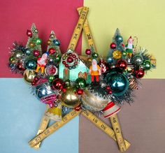 Vintage Ruler Winter Scene Christmas Wall by dimestorechic on Etsy, $38.00