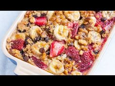 Strawberry Baked Oatmeal with Bananas