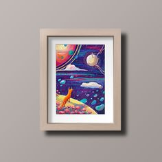 The Little Prince Art Print/ Le Petit Prince/ Fox/ Fine Art Print/ Oil Pastel Art Print/ Kids Room Decor/Fantasy Art/ Space Art/ Oil Pastel Art, The Little Prince, Fantasy Art, Fine Art Prints, Kids Room, Fox, Room Decor, Space, Etsy