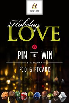 Enter the first-ever Norman Love Confections Holiday LOVE Pin to Win for a chance to win a $50 gift card to use online or in-stores! #NormanLove #HolidayGifts @normanlove