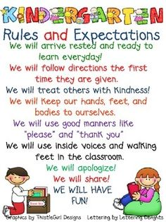 This is a poster that be used in your   Kindergarten classroom to talk about rules and expectations from the 1st day of   school to the last. Graphics ...