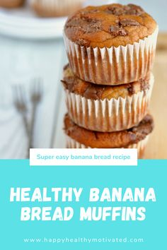 Looking for a healthy banana bread recipe? Tap this pin to learn how to make these amazing healthy banana bread muffins! Healthy Desserts For Kids, Healthy Sweet Snacks, Dessert Recipes For Kids, Quick Snacks, Healthy Fruits, Healthy Meals For Kids, Good Healthy Recipes, Fruit Recipes, Vegetarian Recipes