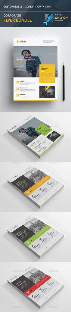 Corporate flyer Bundle 2 in 1 by CreativeCursor Corporate Flyer Bundle 2 in 1210×297mm print dimension with bleeds.Well Layered Organised EPS Files, 300DPI, CMYK , Print ready, 0