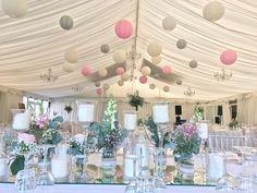 40 soft pink, cream, lace, dove paper lanterns