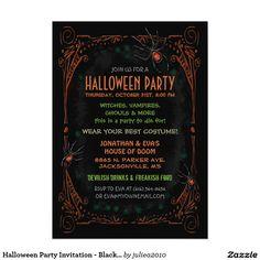 "Halloween Party Invitation - Black Orange Spiders 5"" X 7"" Invitation Card"