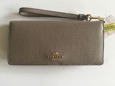 Coach 53759 Slim Wallet in Colorblock Leather Fog Multi Wristlet | eBay
