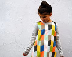 The Mabel Dress - Organic Girls Dress in Geometric Diamonds - Spring Pinafore Dress for Modern Kids (READY TO SHIP in size 4-5T). $68.00, via Etsy.