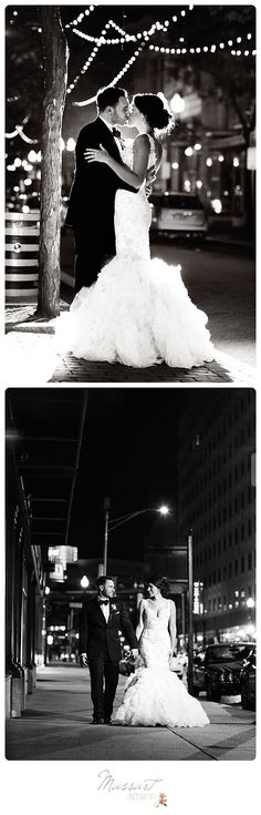 Romantic black and white outdoor wedding portraits of bride and groom under white twinkle lights photographed by Massart Photography, RI MA CT. | www.massartphotography.com; info@massartphotography.com