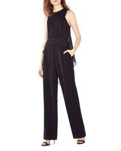 BCBGMAXAZRIA Lori Cascade Drape Back Jumpsuit | Bloomingdale's