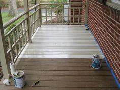 paint a deck.yay now I can finally deal with the deck :) How To Paint A Wood Deck Or Front Porch (We Did Subtle Stripes) Painted Porch Floors, Porch Paint, Patio Paint, Tan House, House Deck, Deck Flooring, Flooring Ideas, Front Porch Makeover, Porch Wood