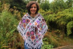White Poncho Handmade Mexican Huipil Hand embroidered by InMortal