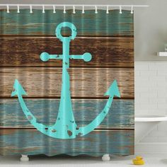Hot Nautical Anchor Rustic Wood Shower Curtain Polyester Waterproof Mildewproof W/Hooks