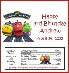 15 Chuggington Birthday Candy Bar Wrappers | eBay