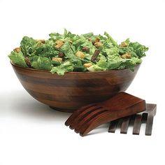 Lipper International Cherry 3-Piece Salad Bowl and Salad Hands Set