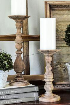 Farmhouse styleDIY candlesticks...such an easy project!. #fixerupper #DIY #diydecor #thriftstore #andersonandgrant
