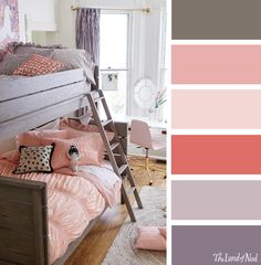 Girls bedroom colors create a with space saving bunk beds i like the color scheme baby . Teen Room Colors, Girls Bedroom Colors, Girls Room Paint, Teenage Girl Bedroom Decor, Kids Bedroom, Bedroom Ideas, Girls Bunk Beds, Bedding Inspiration, Toddler Rooms