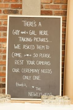 """Please rest your cameras..."" unplugged wedding sign. DIY."