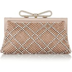 Valentino Embellished satin and lace clutch ($1,538) ❤ liked on Polyvore featuring bags, handbags, clutches, purses, bolsas, brown, brown handbags, beige clutches, bow purse and man bag