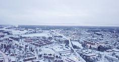 Mikkeli, korkealta ilmasta. Joulukuu 2017.